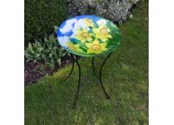 Daffodil Design Glass Birdbath