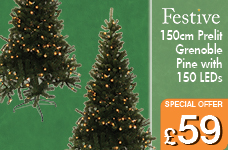 150cm Prelit Grenoble Pine with 150 LED – Now Only £59.00