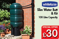 100L Slim Water Butt and Kit - Green – Now Only £30.00