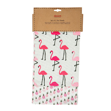 Flamingo Set of 2 Tea Towels - Pink – Now Only £6.00