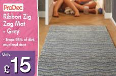 Ribbon Zig Zag Mat - Grey – Now Only £15.00